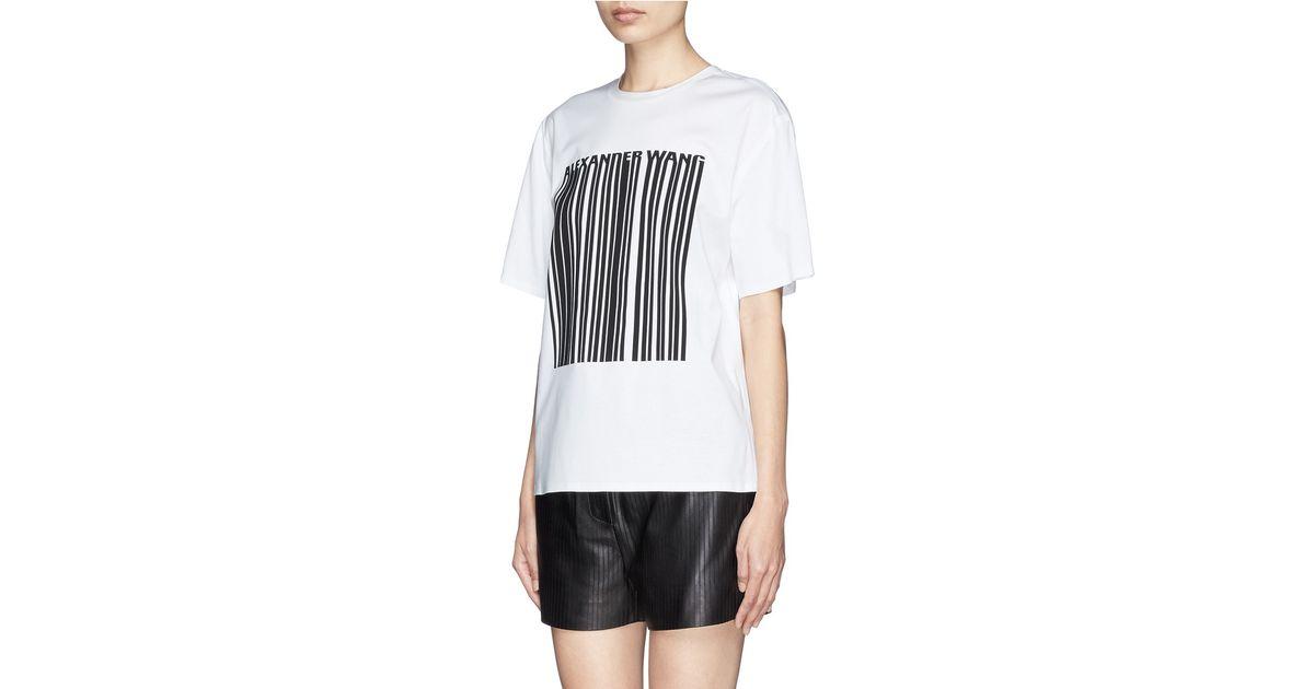 Alexander Wang Bonded Barcode Logo Jersey T Shirt In White