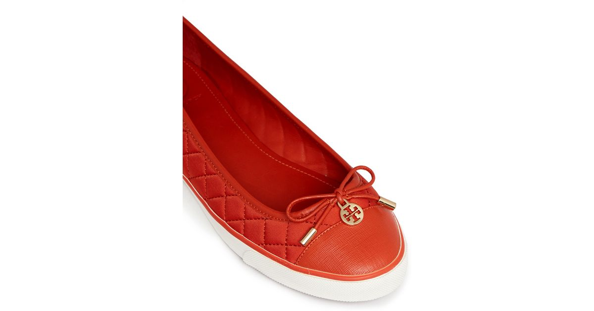 5a2cae6b44f1a Tory Burch - Orange  Caruso  Quilted Neoprene Bow Flats - Lyst
