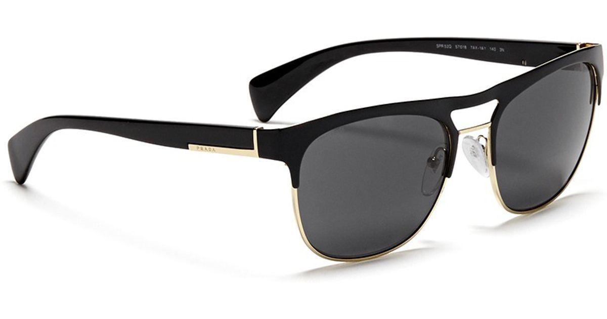 Lyst - Prada Lacquered Browbar Wire Rim Sunglasses in Black for Men