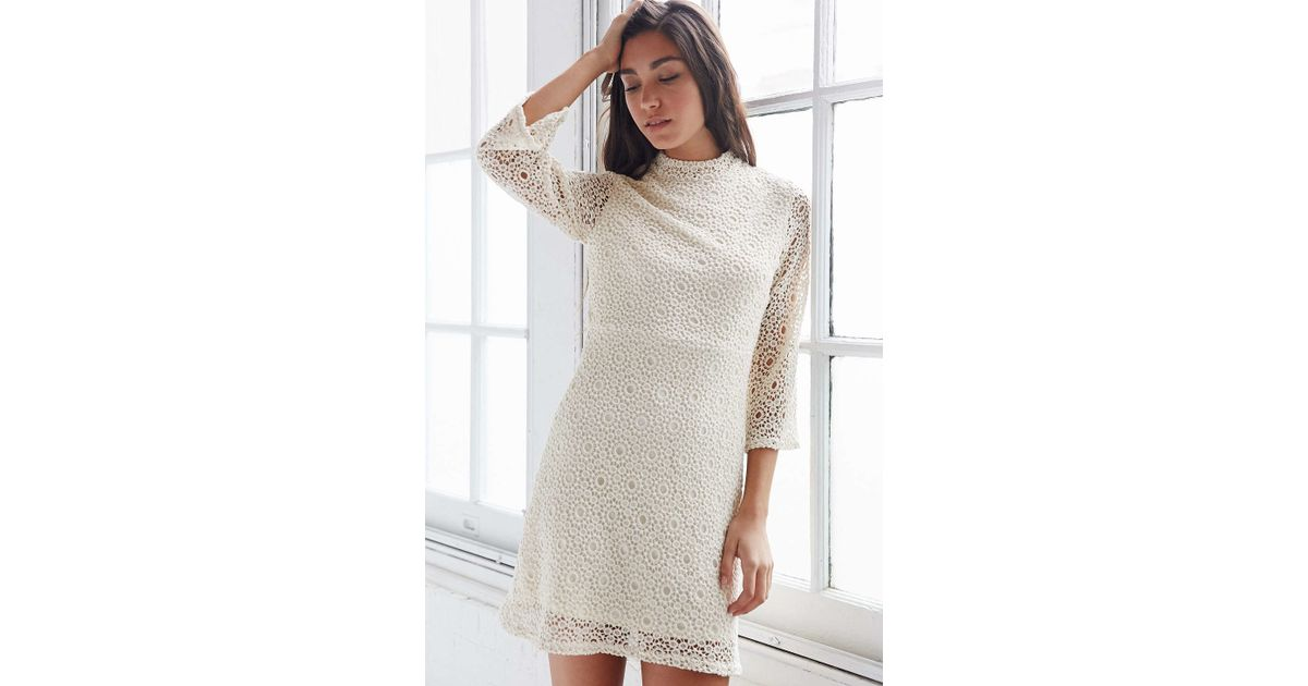 3ef28fff04 Lyst - Cooperative Lace Mock-neck Dress in White