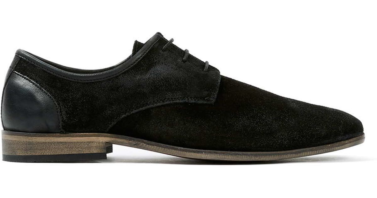 topman black suede derby shoes in black for lyst