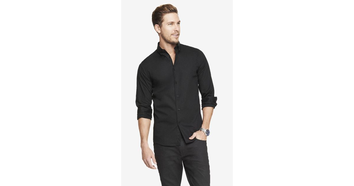 Lyst - Express Fitted Button-down Collar 1mx Shirt in Black for Men