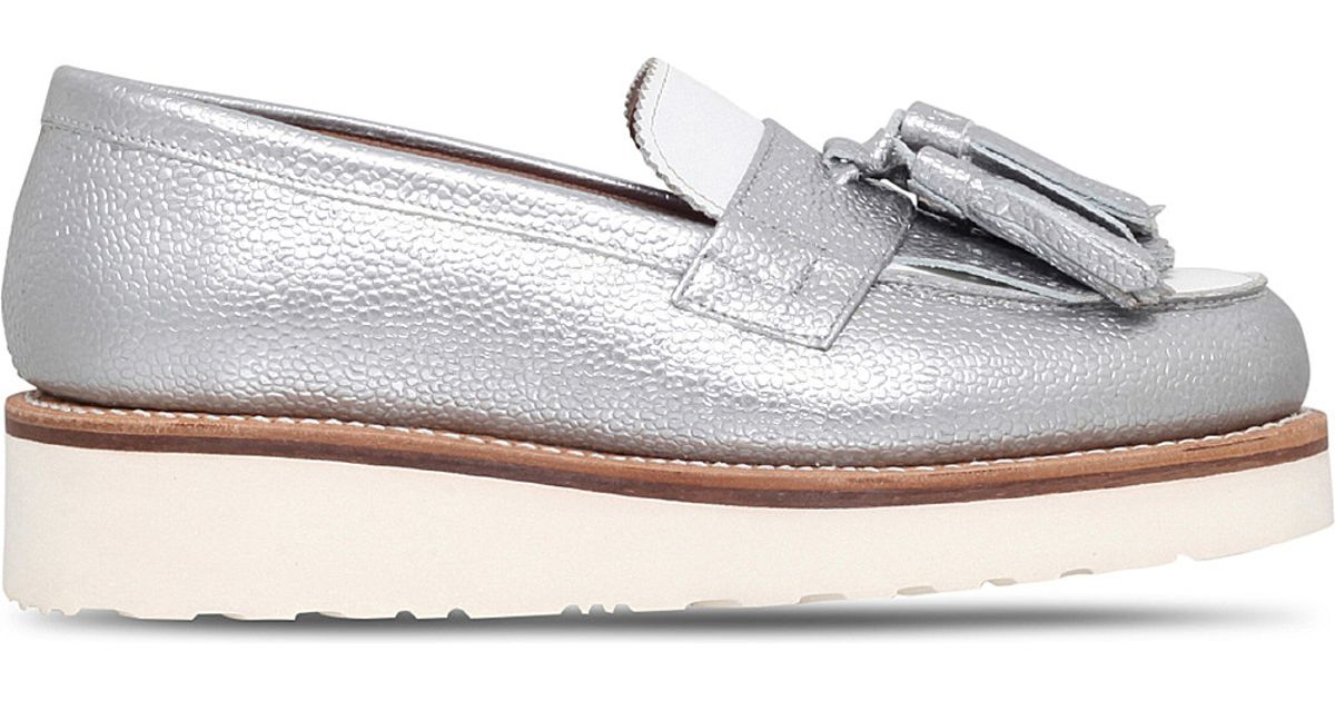 2ee43c5244a Grenson Clara Grain Leather Flatform Loafers in Metallic - Lyst