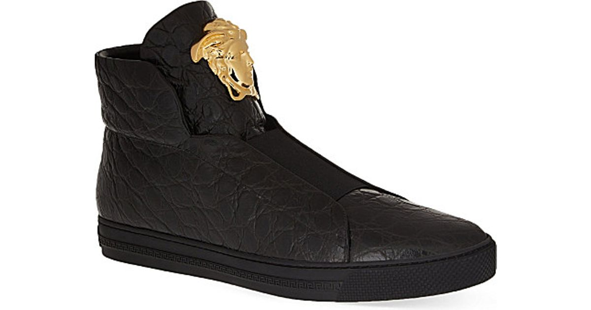 VERSACE Leather High Trainers tx5DkSkM9