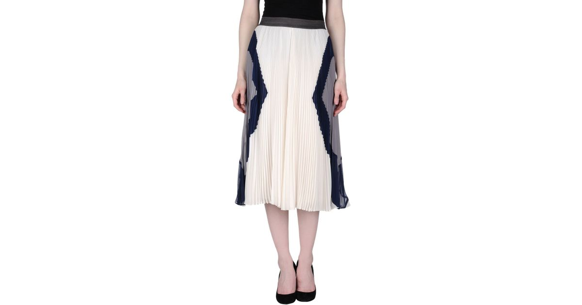 Rebecca taylor 3 4 length skirt in white lyst for 20 34 35 dress shirts