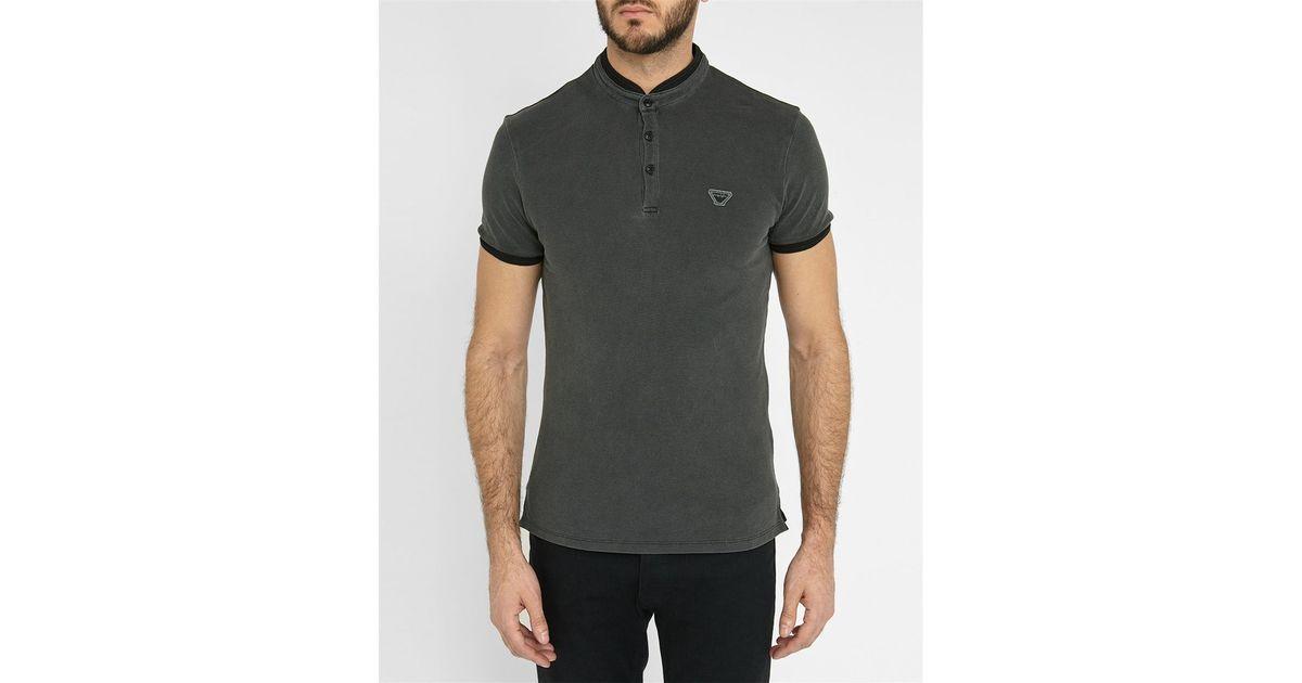 Armani Jeans Black Aj Logo Officer Polo Shirt In Black For