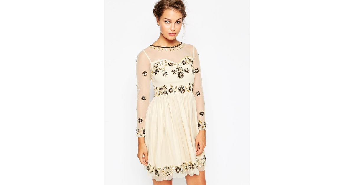Frock and Frill Embellished Midi Skater Dress - Nude gold Embellishe in  Natural - Lyst 69e9e5f94