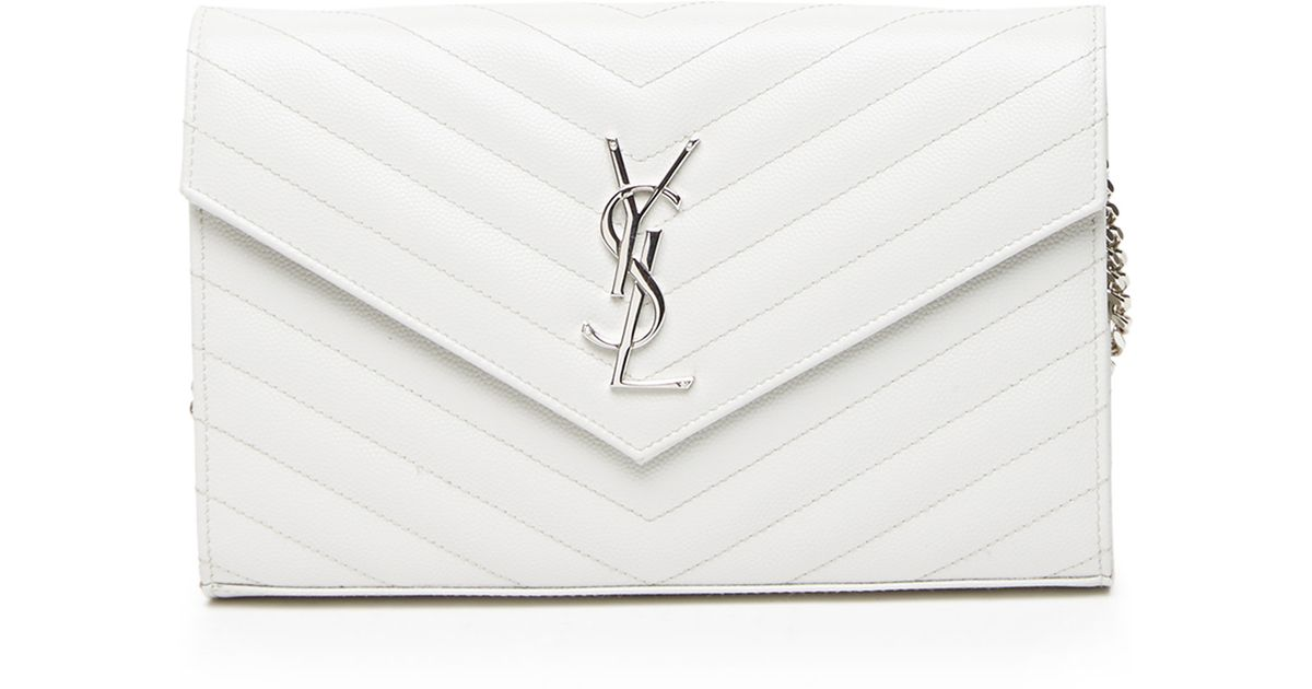 ysl clutch sale - Saint laurent Monogram Grained Matelasse Leather Chain Wallet in ...