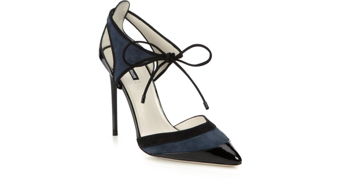 27a4fdb85ac Lyst - Giorgio Armani Suede   Patent Leather Cutout Ankle-tie Pumps in Blue