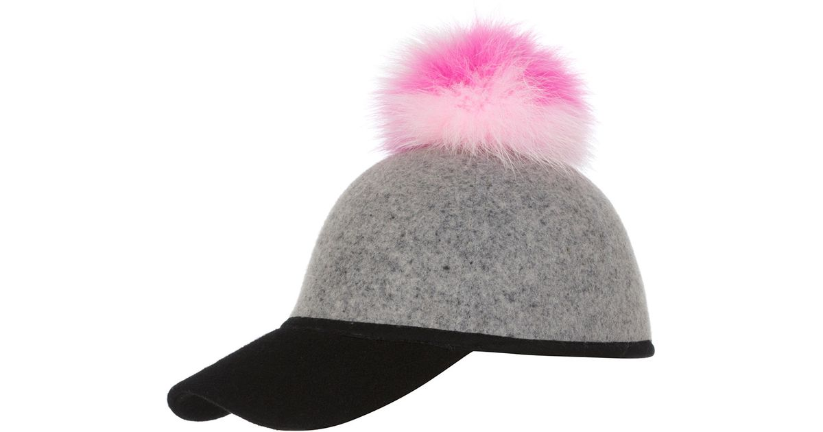 94d5b0888c38c6 Charlotte Simone Sass Baseball Cap W/tricolor Fur Pom-pom in Gray - Lyst
