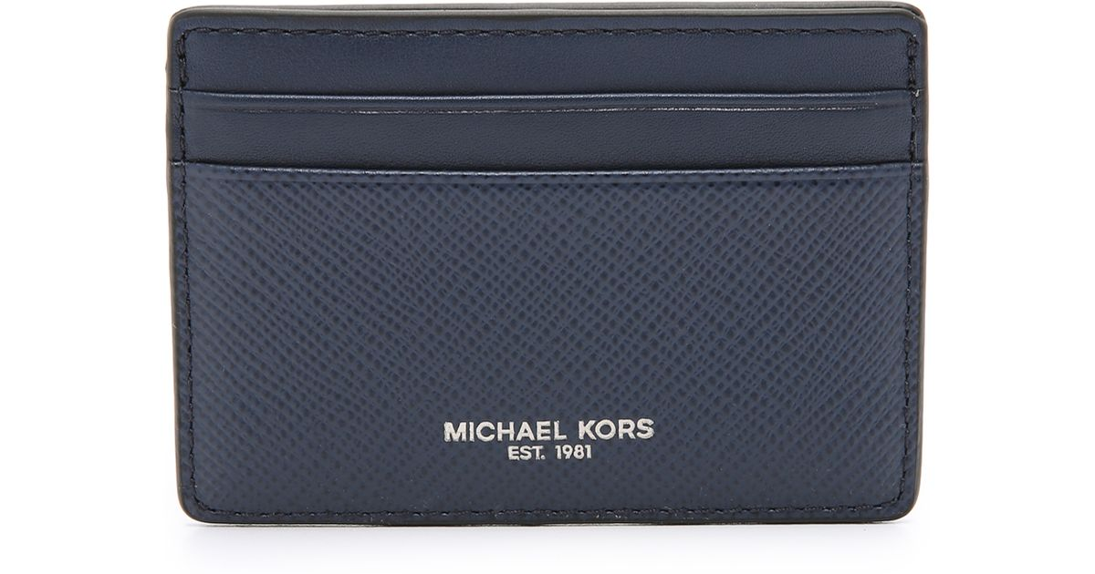 ba8afea558f Lyst - Michael Kors Harrison Leather Card Case in Blue for Men