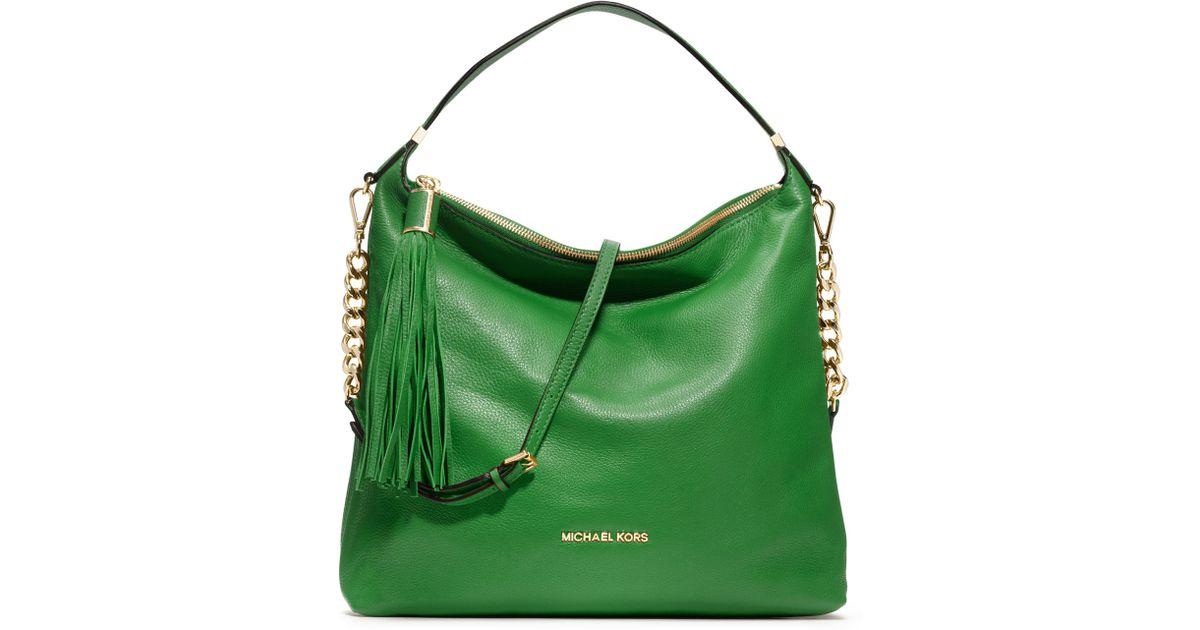 abf4d44e7c83 Michael Kors Michael Large Weston Pebbled Shoulder Bag in Green - Lyst