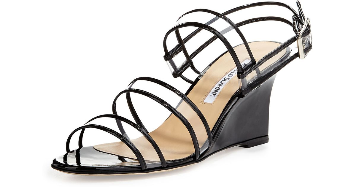 Manolo Blahnik Patent Leather PVC Wedge Sandals cheap manchester great sale clearance sneakernews footlocker online sale free shipping discount fashionable 0TPitP2qO