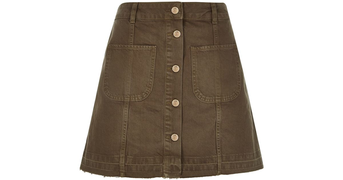 River island Khaki Denim Button-up A-line Skirt in Natural | Lyst