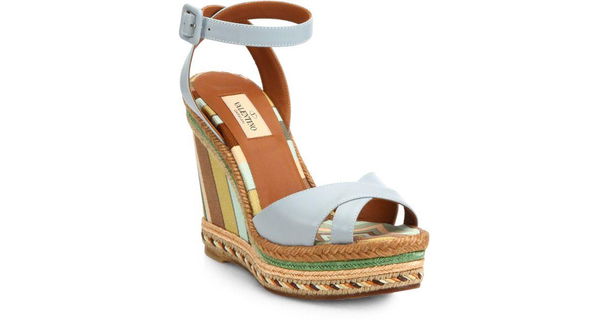 7857547c1184 Lyst - Valentino Leather Crisscross Stripe Espadrille Wedge Sandals in Blue