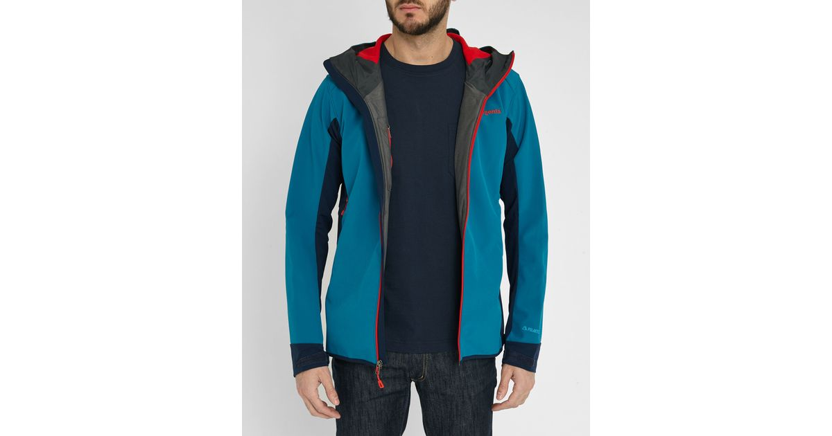 Patagonia Blue Two Tone Adze Hybrid Softshell Jacket In