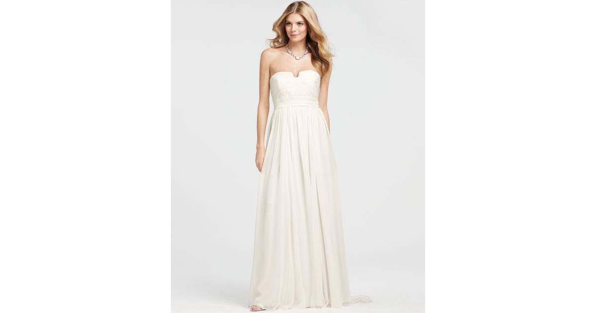 Lyst - Ann Taylor Vintage Silk Strapless Wedding Dress in White