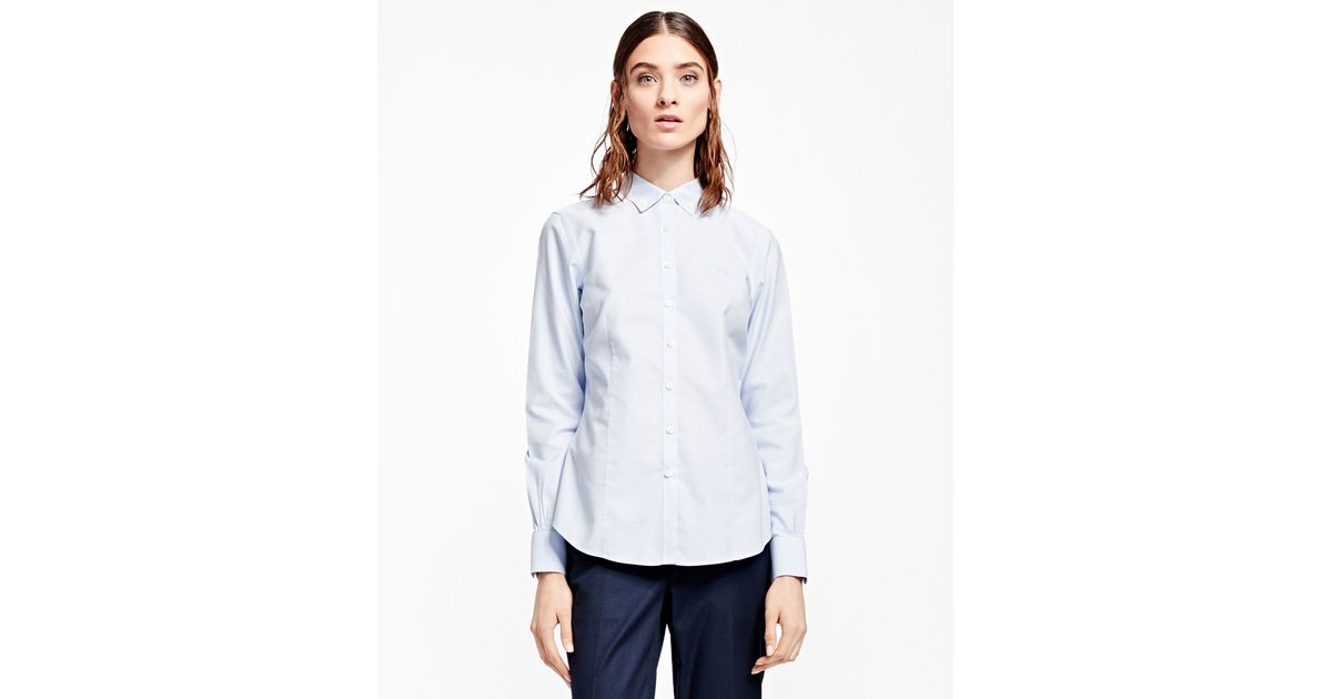 Brooks brothers tailored fit non iron dress shirt in blue for Tailored fit dress shirts