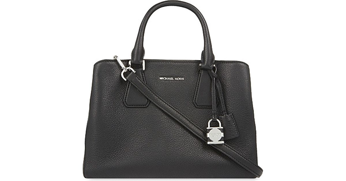 1e02ecea2f90 MICHAEL Michael Kors Camille Small Leather Satchel in Black - Lyst