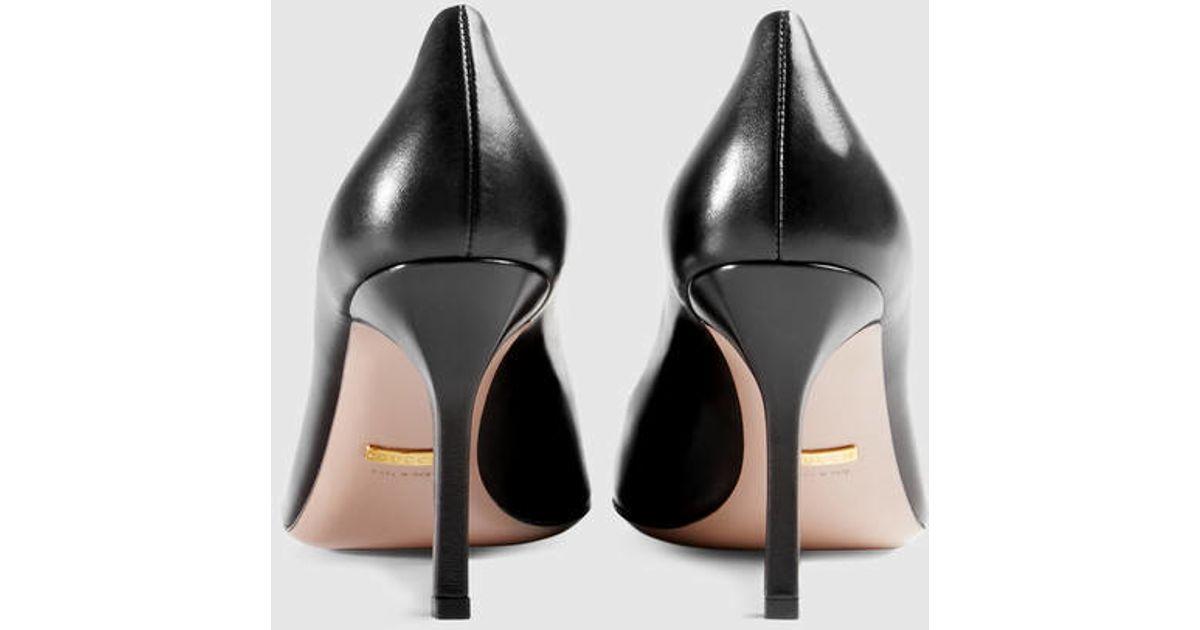 36d9e27b32b Lyst - Gucci Jolene Leather Mid-heel Pump in Black
