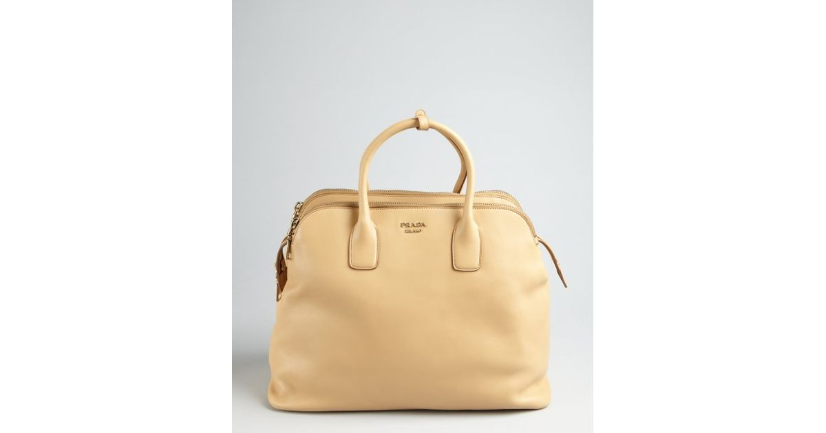 ad3ff7080c8f ... free shipping lyst prada beige leather triple zip top handle bag in  natural 86ace c2869 ...