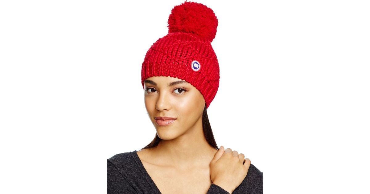 Lyst - Canada Goose Merino Wool Beanie With Oversized Pom-pom in Red 673093eab7a4
