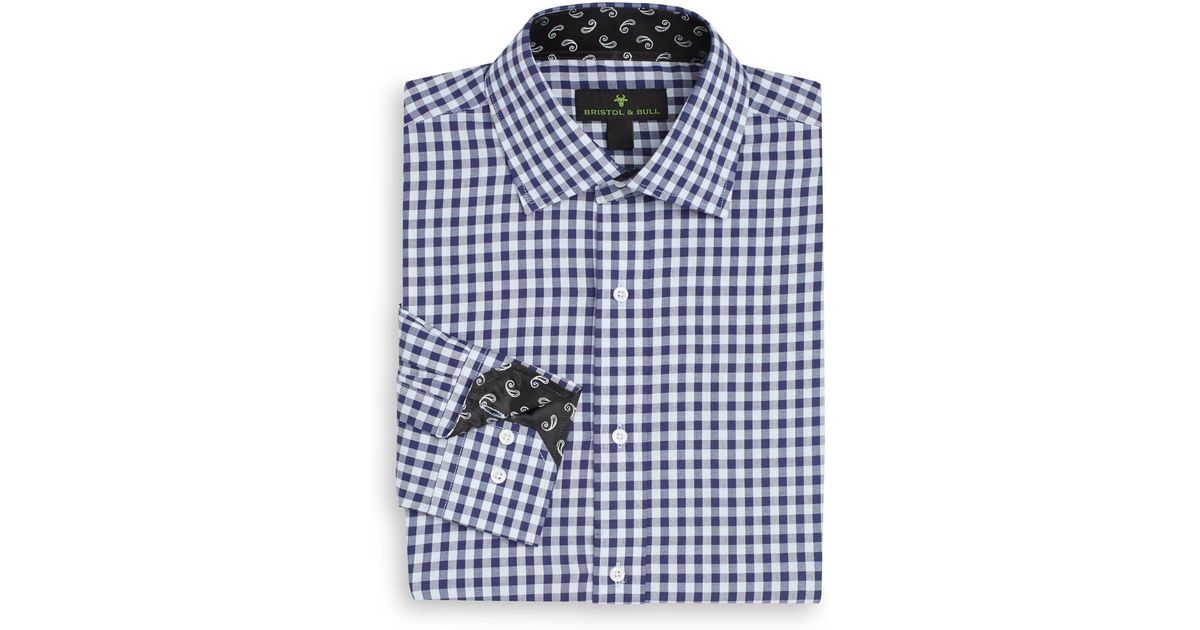Bristol Bull Regular Fit Gingham Cotton Dress Shirt In