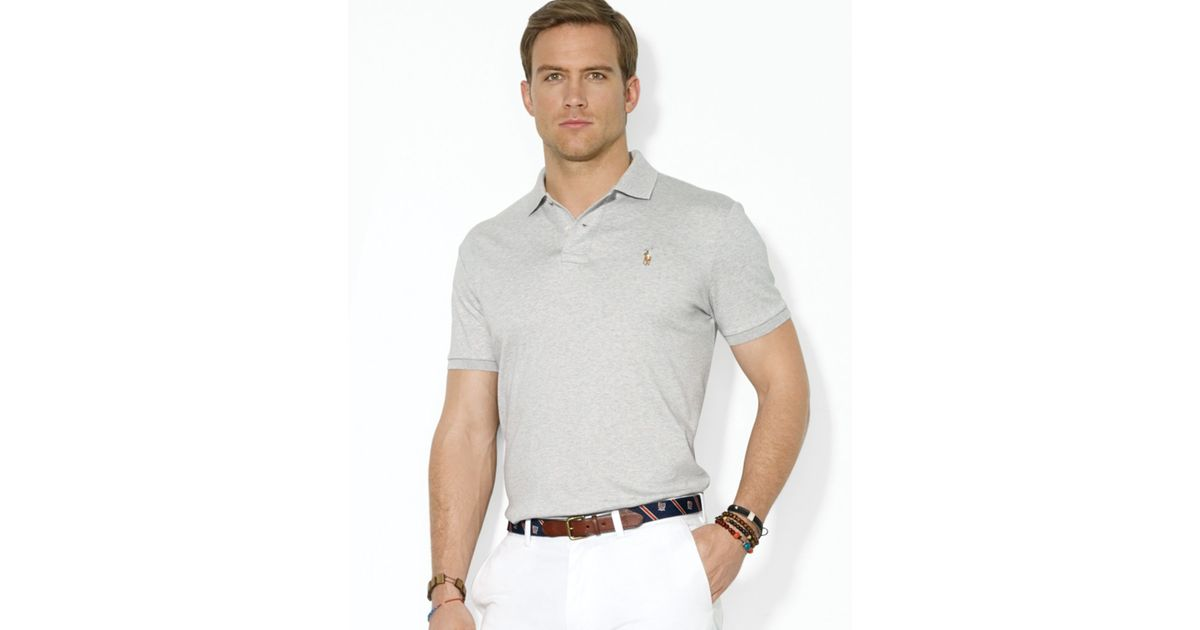 32380087 ... spain lyst ralph lauren polo pima soft touch regular fit polo in gray  for men 62051