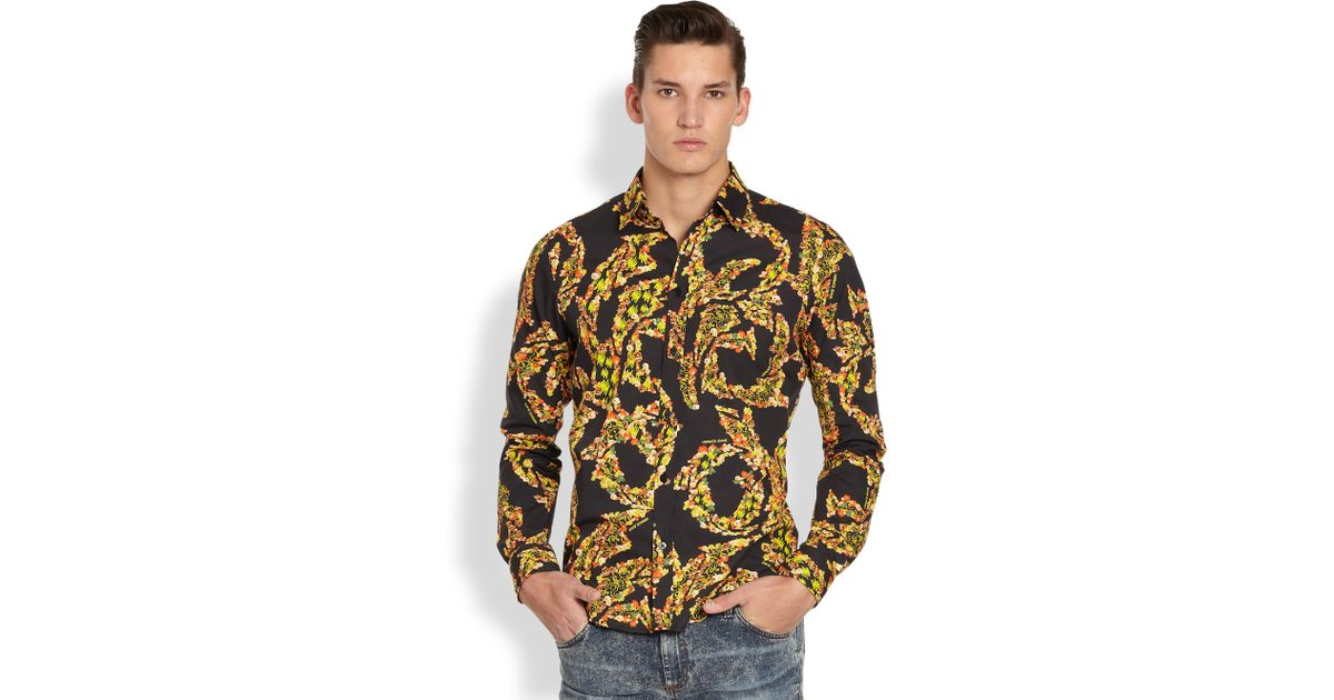 f148d8e0 Versace Jeans Multicolor Print Sportshirt in Metallic for Men - Lyst