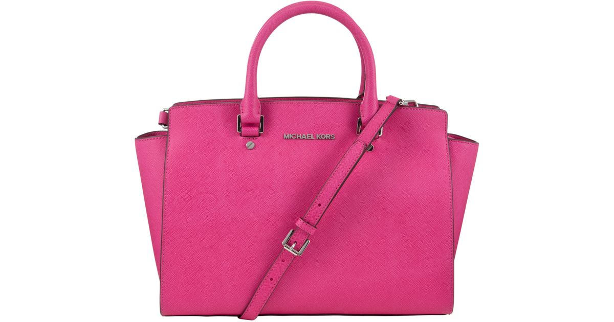 33ca5fd86e3c23 spain michael michael kors selma leather satchel bag in pink lyst 6bf23  8ccc6