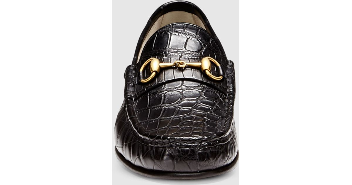 294543a3e Gucci 1953 Horsebit Loafer In Crocodile in Black for Men - Lyst