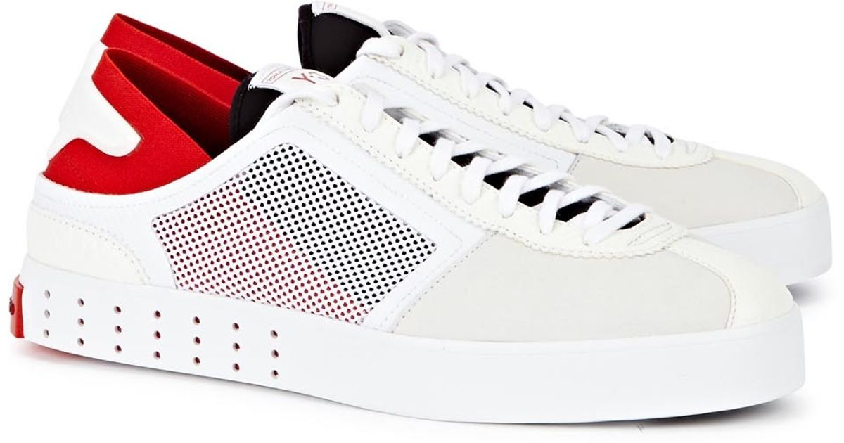 7ba5a6eb1162e Y-3 Lazelle White Leather Trainers in White for Men - Lyst