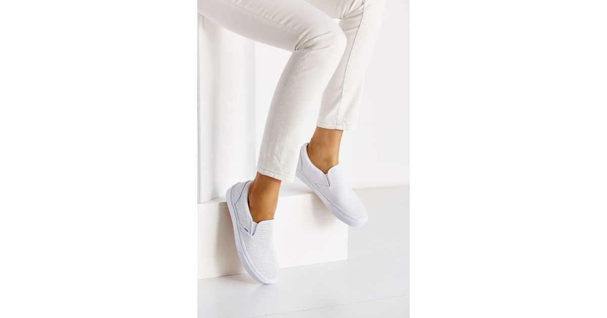 513b3e30c0 Vans Perforated Leather Slip-on Sneaker in White - Lyst