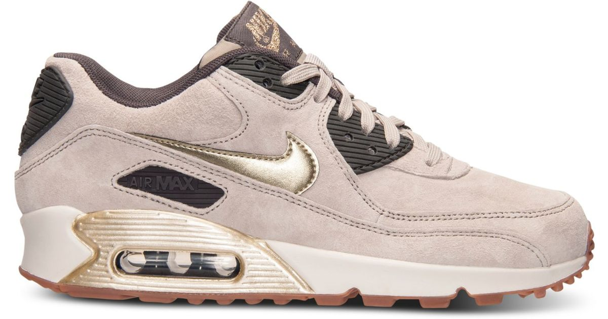 Lyst - Nike Women s Air Max 90 Premium Suede Running Sneakers From Finish  Line in Metallic 85573feb5d