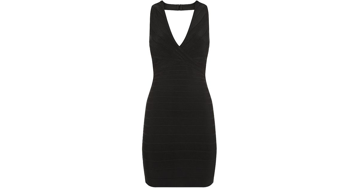 8dbe45b096e5 Hervé Léger Nadya Bandage Dress in Black - Lyst
