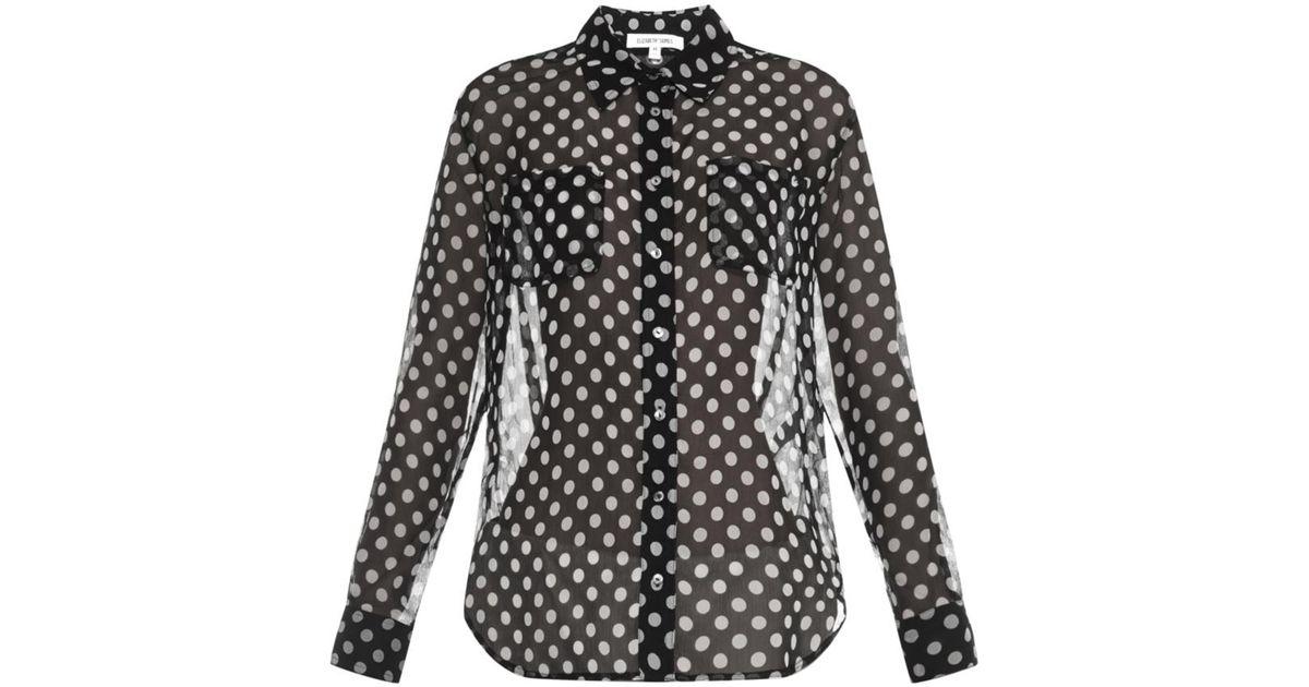 096e0830d83c4 Lyst - Elizabeth and James Emmanuelle Polka-Dot Silk-Chiffon Shirt in Black