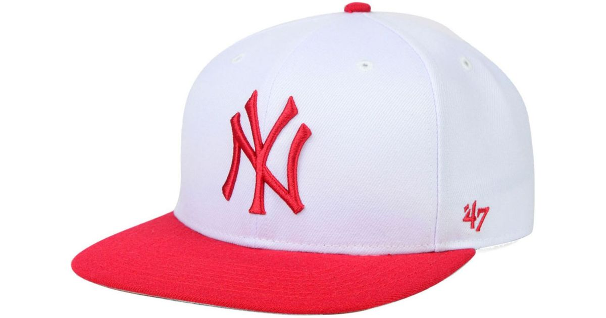 buy online 510fe dd0aa Lyst - 47 Brand New York Yankees Sure Shot Snapback Cap in White for Men