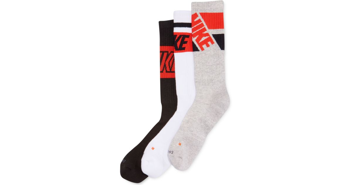 f9858aa82 Nike Men's Dri-fit Fly Rise Performance Crew Socks 3-pack in Black for Men  - Lyst