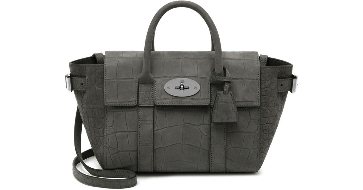 22bf4528e803 ... canada mulberry mini bayswater buckle tote in gray lyst 765eb 6a364