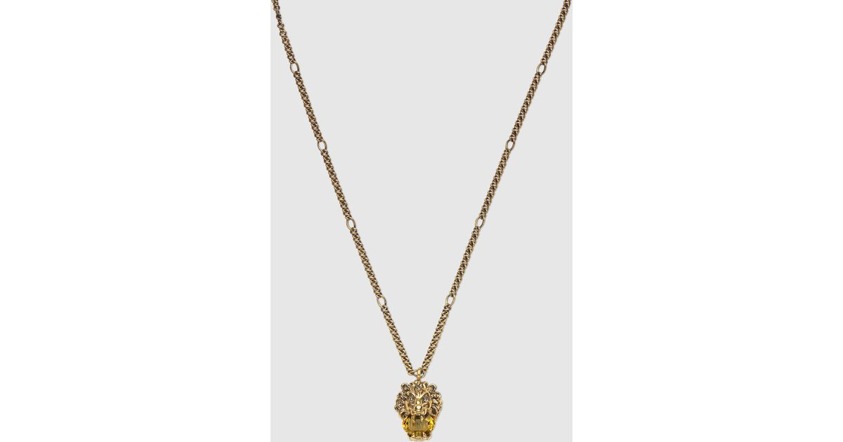 Gucci Lion head necklace with crystal CXJTcsZYJk