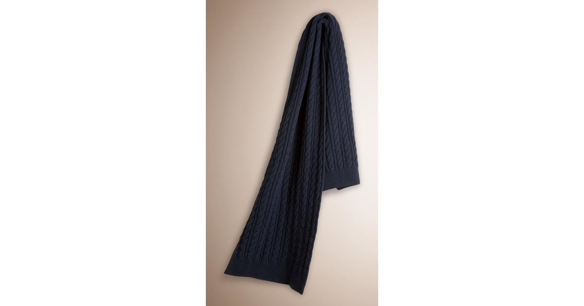 Knitting Pattern Burberry Scarf : Burberry Wool Cashmere Cable Knit Scarf in Blue (NAVY) Lyst