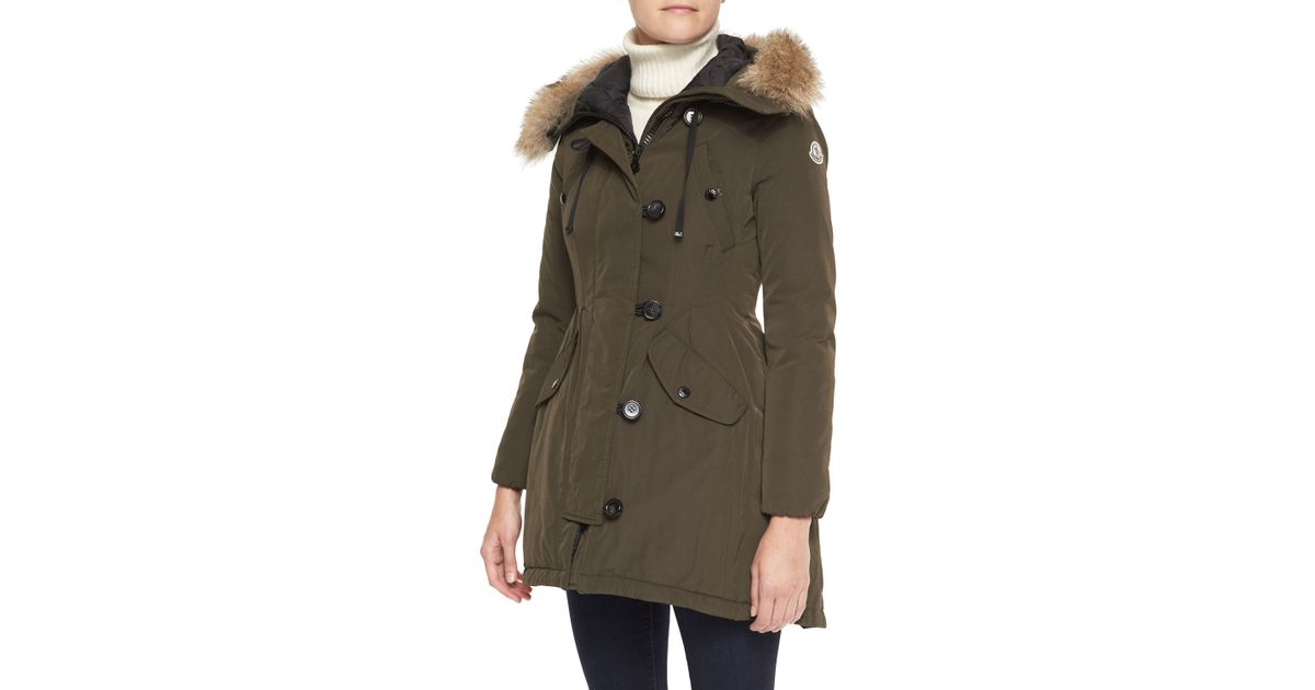 Moncler pleated fur trim parka