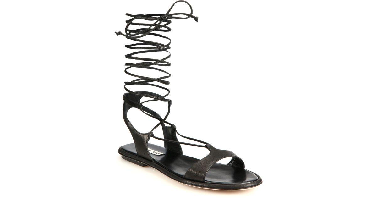 36ae4c405d7ca3 Lyst - Miu Miu Lace-Up Leather Gladiator Sandals in Black