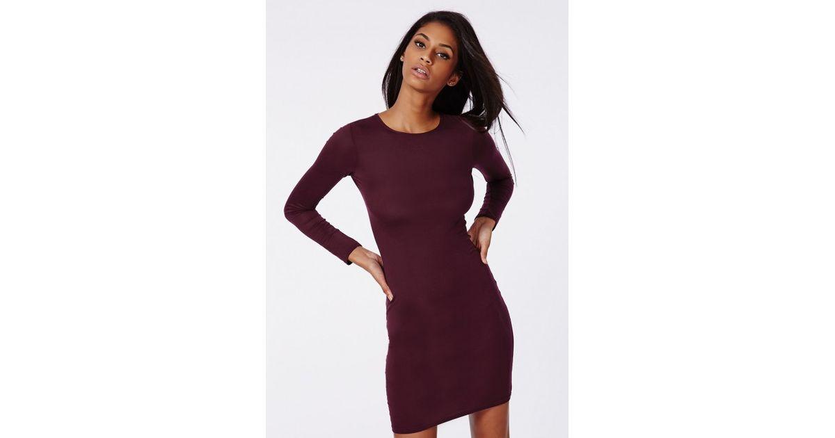 67870e25ea7f Lyst - Missguided Rainey Long Sleeve Bodycon Dress Plum in Purple