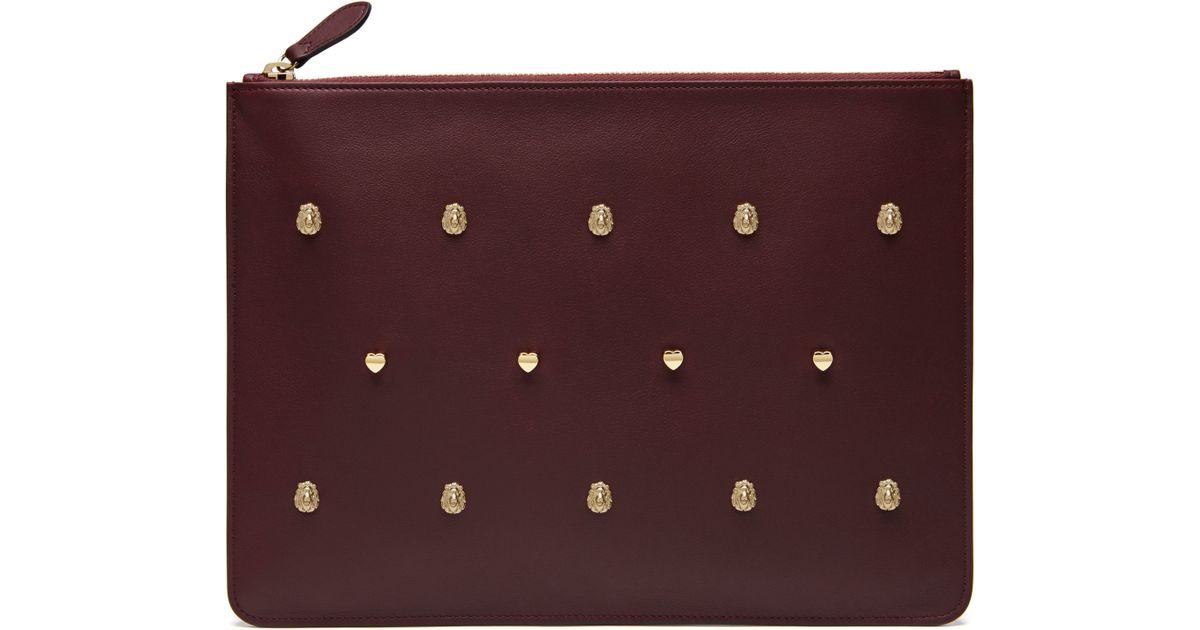 d5b8287eea Mulberry Cara Delevingne Large Pouch With Rivets in Purple - Lyst