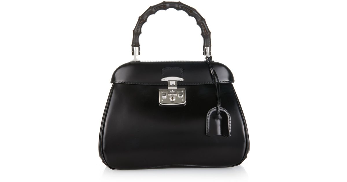a68dd71e0fd Lyst - Gucci Lady Lock Medium Leather Bag in Black