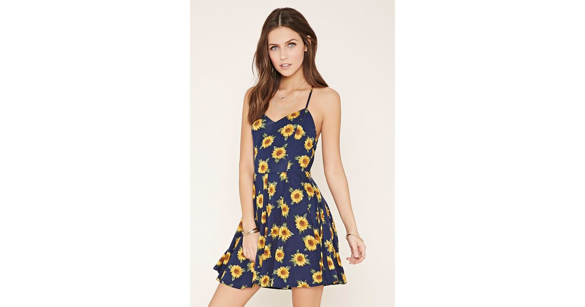6b1c2ccaaba2 Forever 21 Sunflower Cami Mini Dress You've Been Added To The Waitlist in  Blue - Lyst