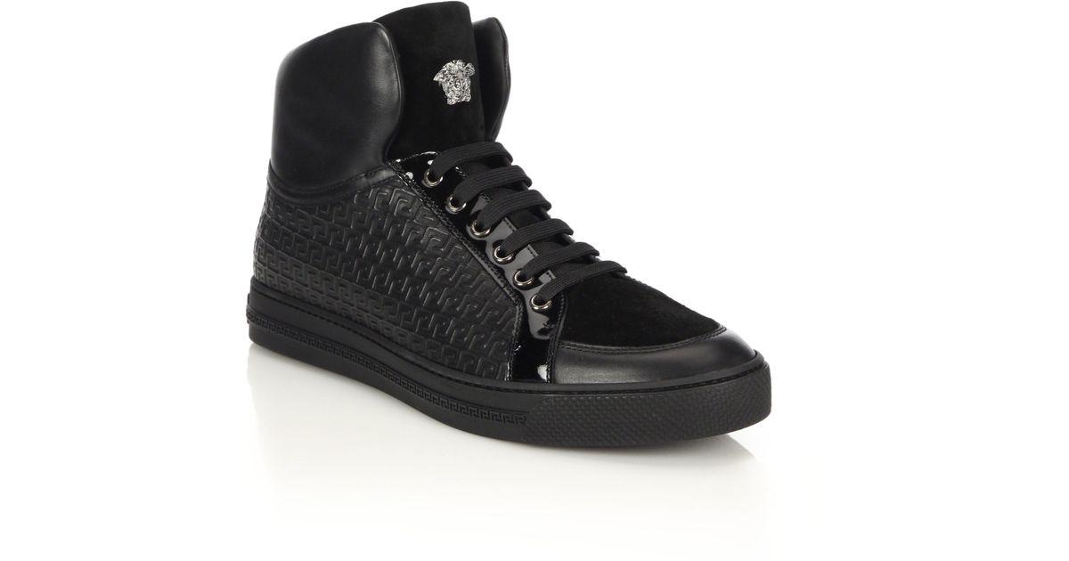 VERSACE Grecca Embossed High-Top Sneakers gtQ0Jchc