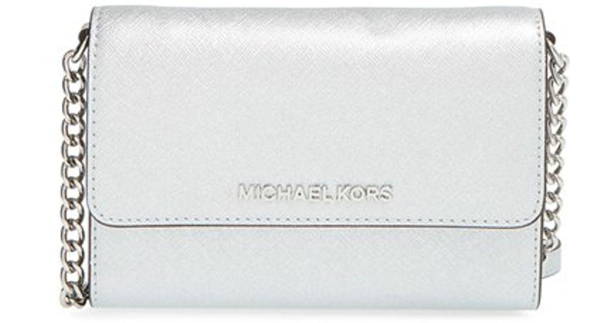 65222fc9020e MICHAEL Michael Kors Jet Set Large Saffiano Leather Bag in Metallic - Lyst