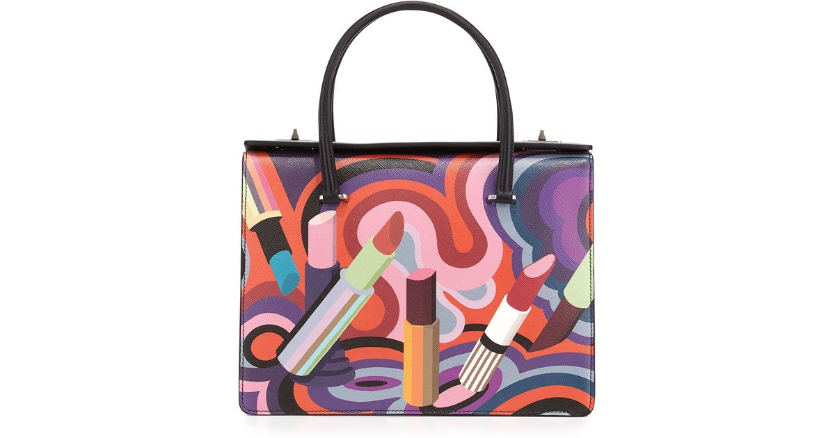 fb3ce2a78d3d Lyst - Prada Lipstick-Print Saffiano Tote Bag in Purple